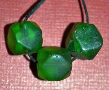 Antique Czech Green Vaseline Cornerless Cube European Glass Beads, African Trade