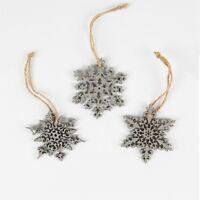 Set Of 3 Grey Laser Cut Snowflake Christmas Tree Hanging Decoration Bauble 7x7cm