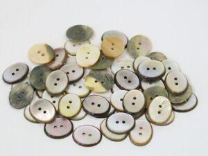 50 alte Perlmuttknöpfe 22 x 18 mm  Knopf Knöpfe aus Perlmutt Button *7*