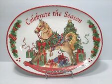 "Beautiful Hand Painted Fitz And Floyd ""Celebrate The Season� Sentiment Tray."