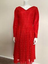Vintage Red Lace A-Line Dress