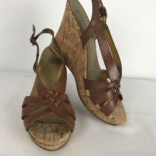 Guess Tavish Womens Wedge Sandals Shoes 9 M Tan/Brown Leather Cork Platform