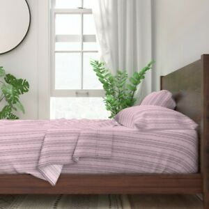 Watercolor Pink And Grey Stripes 100% Cotton Sateen Sheet Set by Roostery