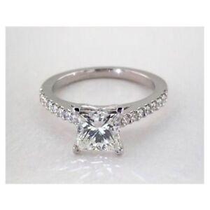 1.55 Ct Princess Cut Diamond Engagement  White Gold Finish Ring Size N M K L O P