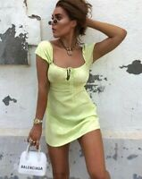 Gaval Mini Dress in Satin Rose Lime by Motel Size S
