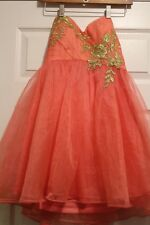 Ladies Womens  Medium cocktail dress coral orange tulle homecoming sleeveless M