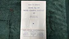 LIONEL # 159 BLOCK CONTROL CONTACT SET INSTRUCTIONS PHOTOCOPY