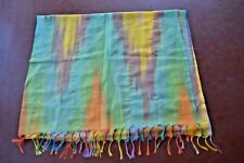 Huge delicate silk Scarf all rainbow pastel colors fine paisley design tassels