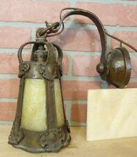 Antique Arts & Crafts Slag Glass Decorative Art Lamp w Bracket Fabulous Gothic