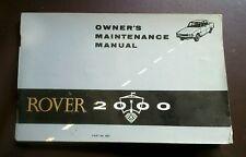 Rover 2000 p6 owner's maintenance manual November 1966