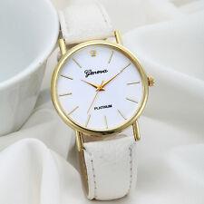 Women Design Dial Leather Band Analog Geneva Quartz Wrist Watch WhiteNew