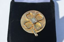 14k GOLD GOOD LUCK FOUR LEAF CLOVER IRISH BROOCH 6.6gm W/ DIAMOND .10 - .15 CT