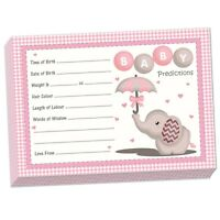 Pink Baby Elephant - 20 PREDICTION CARDS, Baby Shower Party Girl Keepsake Game