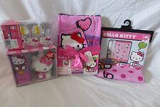 16 pc Sanrio Hello Kitty Fabric Shower Curtain, Hooks,Towel, Accessories Set NIP