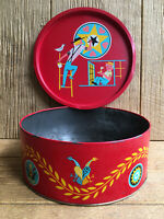 Bachman Pennsylvania Dutch Amish Pretzel Tin Vintage Red Folk Art Tray Lid