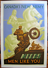 Original WWII Canadian War Poster, Canada's New Army Needs Men Like You, Linen