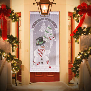 New Christmas White Lace Window Door Curtain Snowman Hanging Xmas Party  @