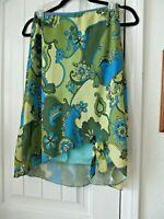 Vintage 70's Studio Soleil Disco Skirt Women's XS Peter Max Style Graphic Green