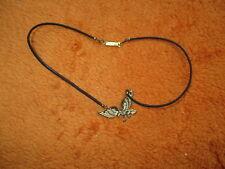 Halskette Lederband mit Adler goldfarbig Metall