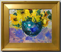 JOSE TRUJILLO FRAMED IMPRESSIONIST PLEIN AIR OIL PAINTING SUNFLOWERS VASE SIGNED