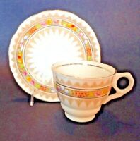 Royal Stafford Tea Cup And Saucer - Regency Pattern - Raised Moriage - England