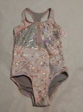 NWT Justice Girls Marble Shine Zip Up One Piece Swimsuit