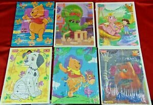 Vintage Pre-School Wooden Puzzle Lot of 6 Playskool Puzzles Pooh 101 Dalmatians