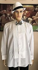 NEW Men's CHAPLIN Size 2X 32/33 Pleated White Tuxedo Shirt with Pointed Collar