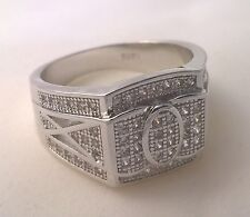 925 Sterling silver Men's simulated diamond ring oval USA size 11 Australian W