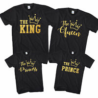 The King/Queen/Prince/Princess T-Shirt Family Group Tops GOLD Crown Gift L289