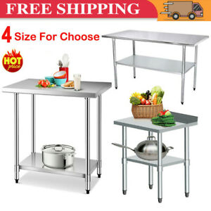 Stainless Steel Kitchen Work Bench Top Food Grade Commercial Catering Prep Table