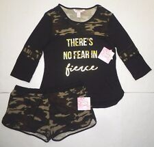 Harmony & Havoc Womens 2 PC Pajamas Logo Shirt & CAMO Lounge Shorts SET Black XL