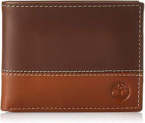 Timberland Men's Premium Genuine Leather Commuter Bifold Wallet Brown Tan
