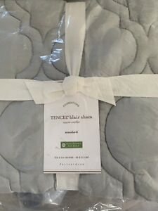 Pottery Barn Blair Tencel Gray Mist Standard Quilted Sham 26x20 New In Pa