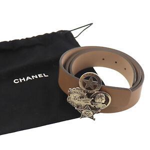 CHANEL Logos Cuir Veritable Used Waist Belt Beige Gold B14 A Italy Auth #AE416 O