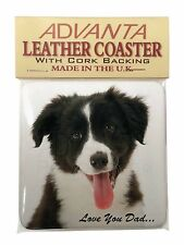 Border Collie Pup 'Love You Dad' Single Leather Photo Coaster Animal B, DAD-17SC