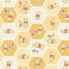 """Camelot Chamomile Winnie The Pooh Tea Time 100% cotton 43"""" fabric by the yard"""