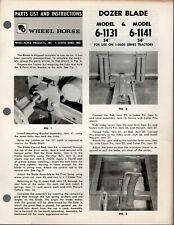Vintage Wheel Horse Parts List Amp Instructions Dozer Blade Models 6 1131 6 1141