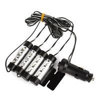 (4 En 1 12V Voiture Intérieur 3 LED Atmosphère Décoration Lamp Lumières Bleu)