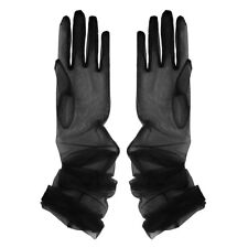 Long Stretch Tulle Full Finger Semi Sheers Mittens Opera Bridal Wedding Gloves