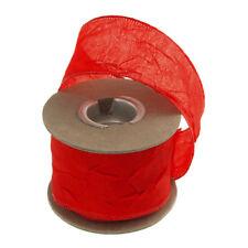 Premium Crinkled Satin Silk Wired Edge Ribbon, 2-Inch, 9 Yards