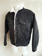 LEVIS Jacket Jeans Nero Sherpa San Francisco MADE USA Vintage Anni 80 (PANINARO)