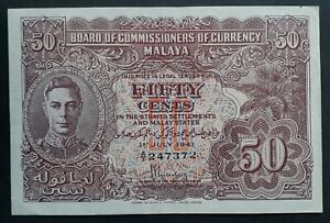 RARE 1941 Malaya Board of Commissioners of Currency 50 Cents Banknote P10a VF