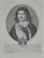 """Burin ANONYME, """"Frederic Maurice de la Tour"""", XVIIème."""