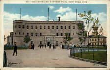 New York City USA vintage postcard ~1910/20 Aquarium an Battery Park Personen