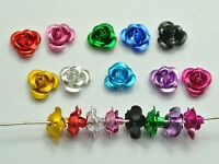 200 Mixed Colour Aluminum Metal Rose Flower Beads 6mm Spacer Finding