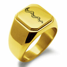 Mens Square Biker Style Signet Ring Stainless Steel Rod of Asclepius Symbol