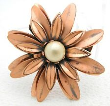 "VTG Matisse RENOIR Signed ""ANEMONE"" Flower Faux Pearl Copper Brooch Pin"