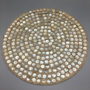 """Nicole Miller Beaded Beach Sand Placemat Centerpiece Mother Of Pearl Shell 15"""""""