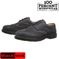 Office Workshop High Quality Black Leather Brogue Safety Work Shoes Steel Toe